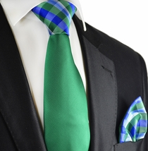 Green Paul Malone Contrast Knot Tie and Pocket Square