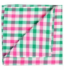 Green, Pink and White Cotton Pocket Square by Paul Malone
