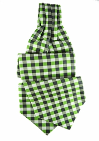 Green Plaid Ascot Tie and Pocket Square