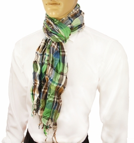 Green Plaid Men's Cotton Crinkle Scarf by Paul Malone