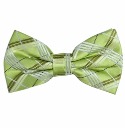 Green Plaid Silk Bow Tie by Paul Malone