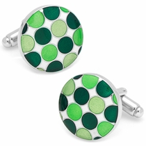 Green Polka Dot Cufflinks