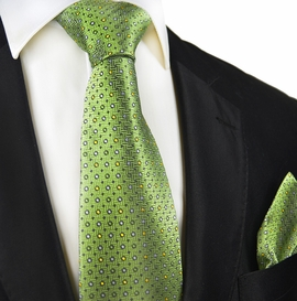 Green Polka Dots Silk Tie and Pocket Square by Paul Malone