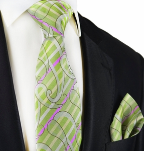 Green Silk Tie and Pocket Square by Paul Malone