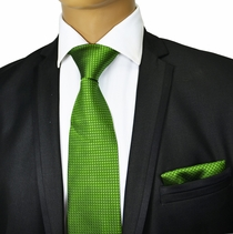 Green Silk Tie and Pocket Square . Paul Malone