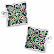 Green Spanish Bloom Cufflinks