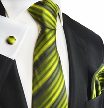 Green Striped Silk Necktie Set by Paul Malone