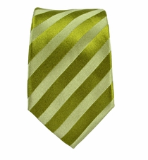 Green Striped Slim Silk Tie by Paul Malone