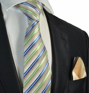 Green Striped Tie and Champagne Rolled Pocket Square Set