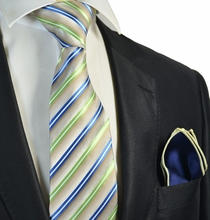 Green Striped Tie and Navy Rolled Pocket Square Set