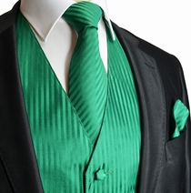 Green Striped Tuxedo Vest, Tie and Pocket Square