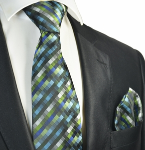 Green Tie and Pocket Square Set