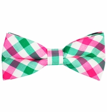 Green, White and Pink Plaid Cotton Bow Tie by Paul Malone