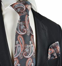 Grey and Coral Paisley Tie and Pocket Square