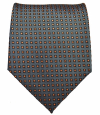 Grey and Orange Polka Dot Mens Tie