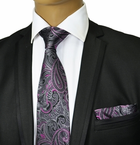 Grey and Purple Silk Tie Set by Paul Malone