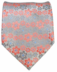 Grey and Red Floral Men's Tie