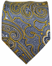 Grey and Yellow Paisley Men's Tie