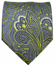 Grey and Green Paisley Men's Tie