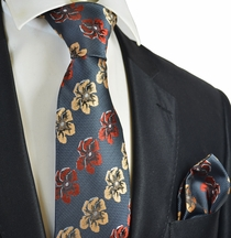 Grey, Cream and Rust Floral Men's Tie and Pocket Square Set