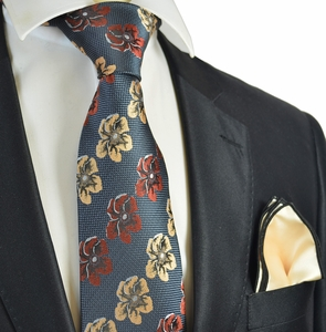 Grey, Cream and Rust Floral Men's Tie Combo with Solid Rolled Pocket Square