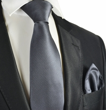 Grey Micro-checked Tie and Pocket Square