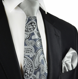 Grey Paisley Contrast Knot Tie and Pocket Square by Paul Malone