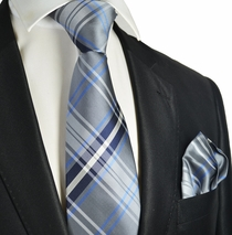 Grey Plaid Men's Tie and Pocket Square