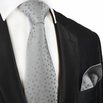Grey Silk Tie and Pocket Square by Paul Malone