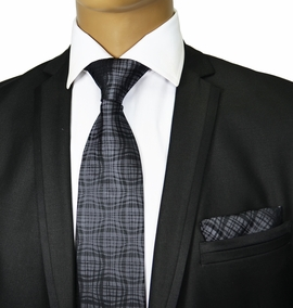 Grey Silk Tie and Pocket Square . Paul Malone
