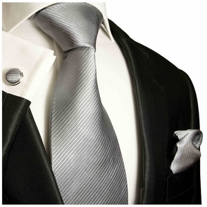 Grey Silk Tie, Pocket Square and Cufflinks by Paul Malone