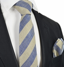 Blue Striped Linen Tie Set by Paul Malone
