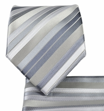Grey Striped Necktie and Pocket Square Set