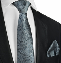 Gunmetal Grey Tie and Pocket Square Set