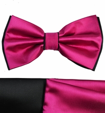 Hot Pink and Black Bow Tie with 2 Pocket Squares