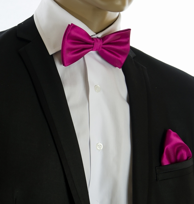 Pink Tie With Tux: Hot Pink Bow Tie And Pocket Square Set (BT100-K