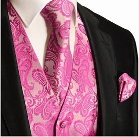 Hot Pink Paisley Tuxedo Vest Set with Tie and Pocket Square