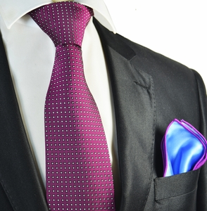 Hot Pink Polka Dot Tie with Contrast Rolled Pocket Square