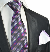Hot Purple Checked Tie with Contrast Rolled Pocket Square