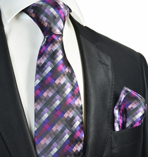 Hot Purple Tie and Pocket Square Set