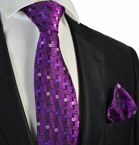 Intense Purple Tie and Pocket Square Set