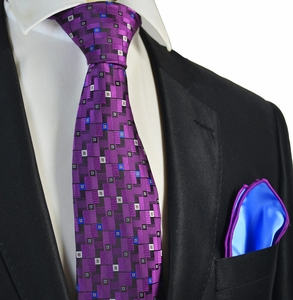 Intense Purple Tie with Blue Rolled Pocket Square Set