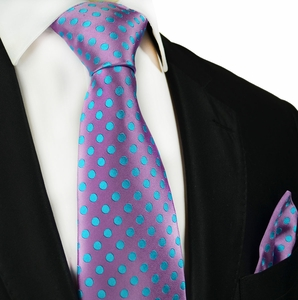 Iris Orchid and Turquoise Paul Malone Silk Tie and Pocket Square