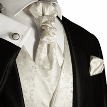 Ivory Mens Tuxedo Wedding Vest Set by Paul Malone (V41)