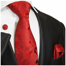 Jester Red Silk Tie and Accessories by Paul Malone