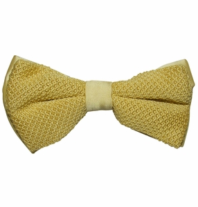 Knit Bow tie and Pocket Square . Champagne