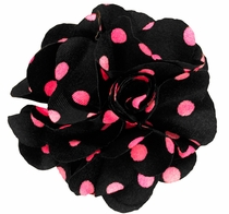 Lapel Flower . Black and Pink Dots