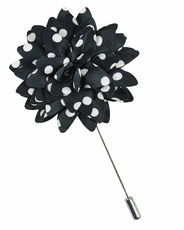 Lapel Flower . Black and White Dots