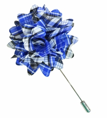 Lapel Flower . Blue Plaids