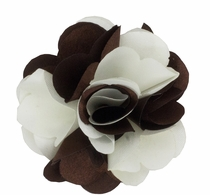 Lapel Flower . Brown and White